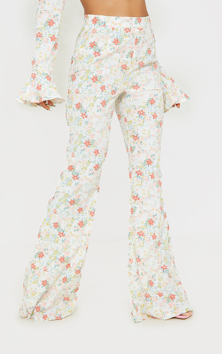 Light Pink Floral Printed Woven High Waisted Flared Trousers 2