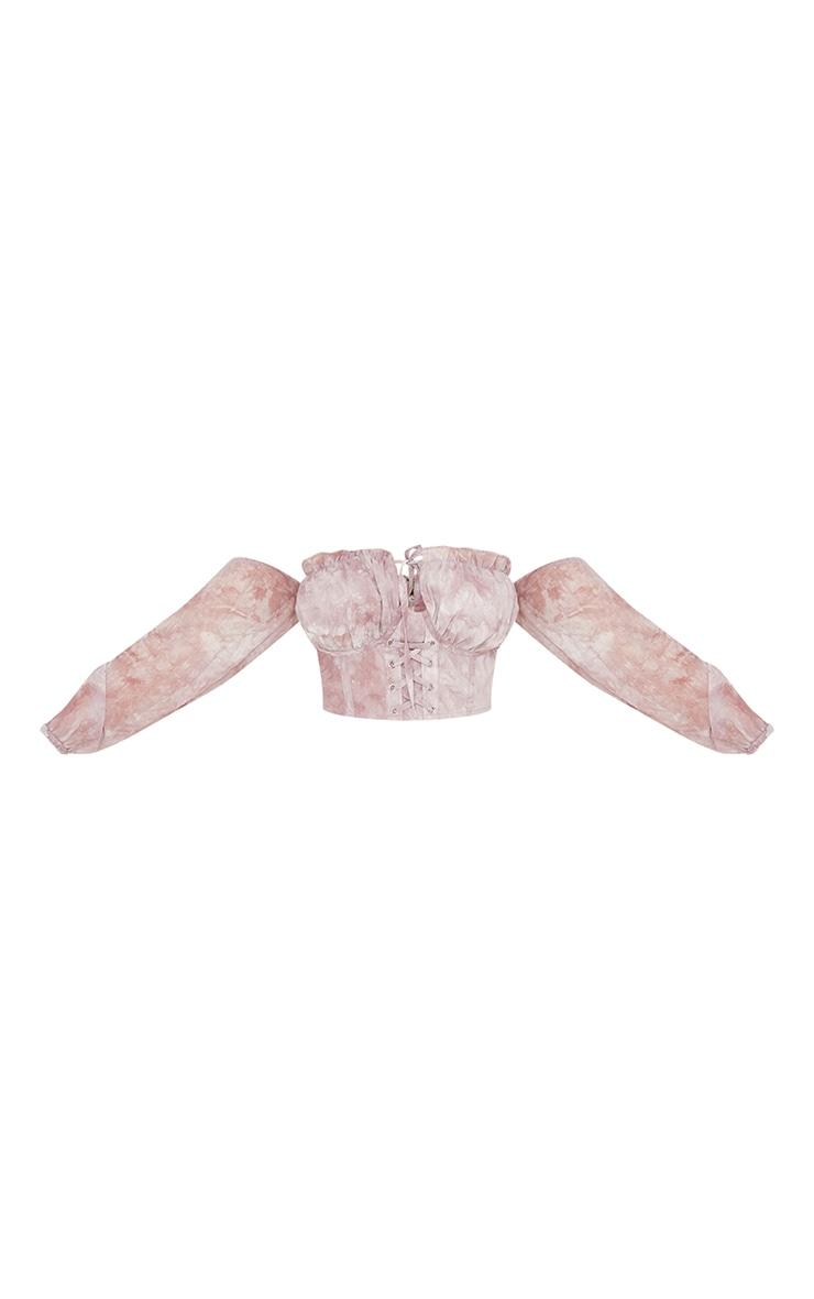 Mauve Tie Dye Cup Detail Tie Front Bardot Crop Top 5