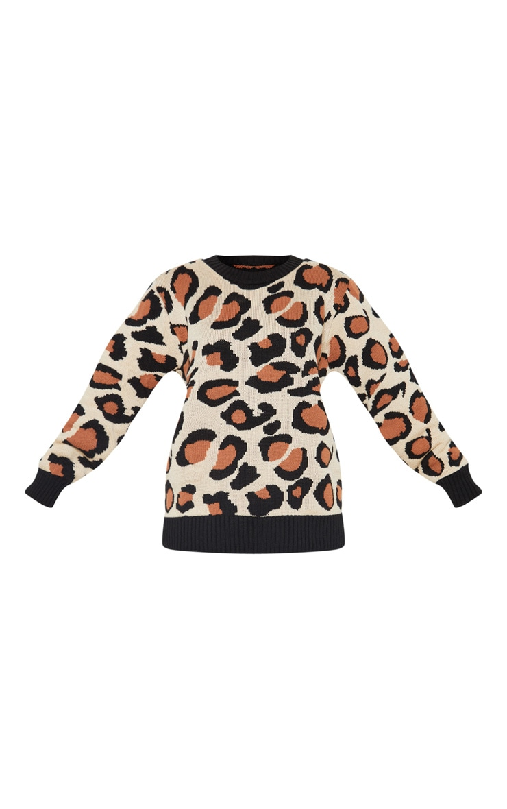 Petite Brown Leopard Print Jumper  3