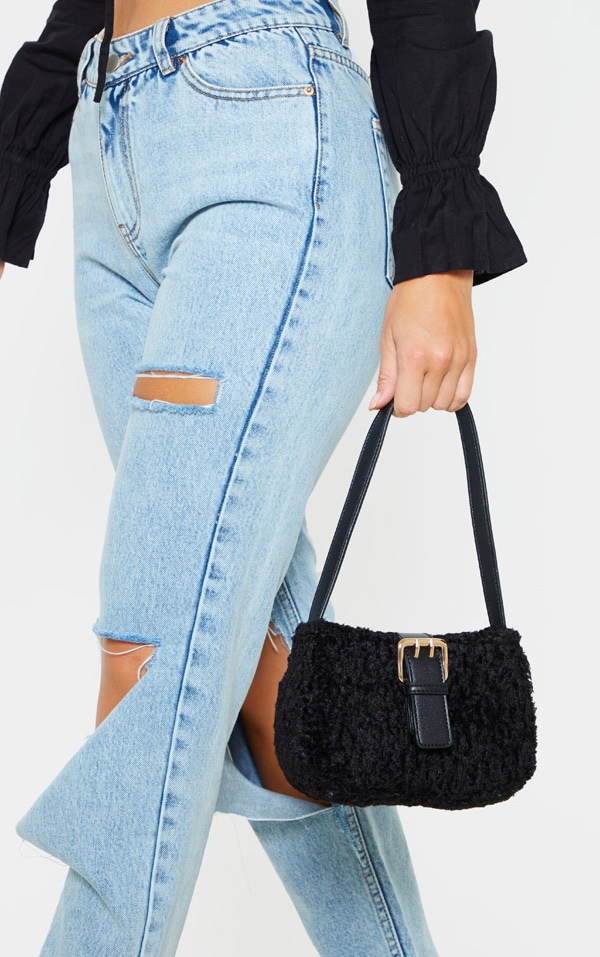 Black Teddy Fur Buckle Shoulder Bag 1