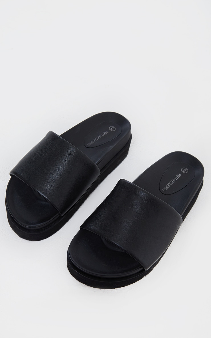 Black Real Leather Footbed Chunky Mule Sandals 3
