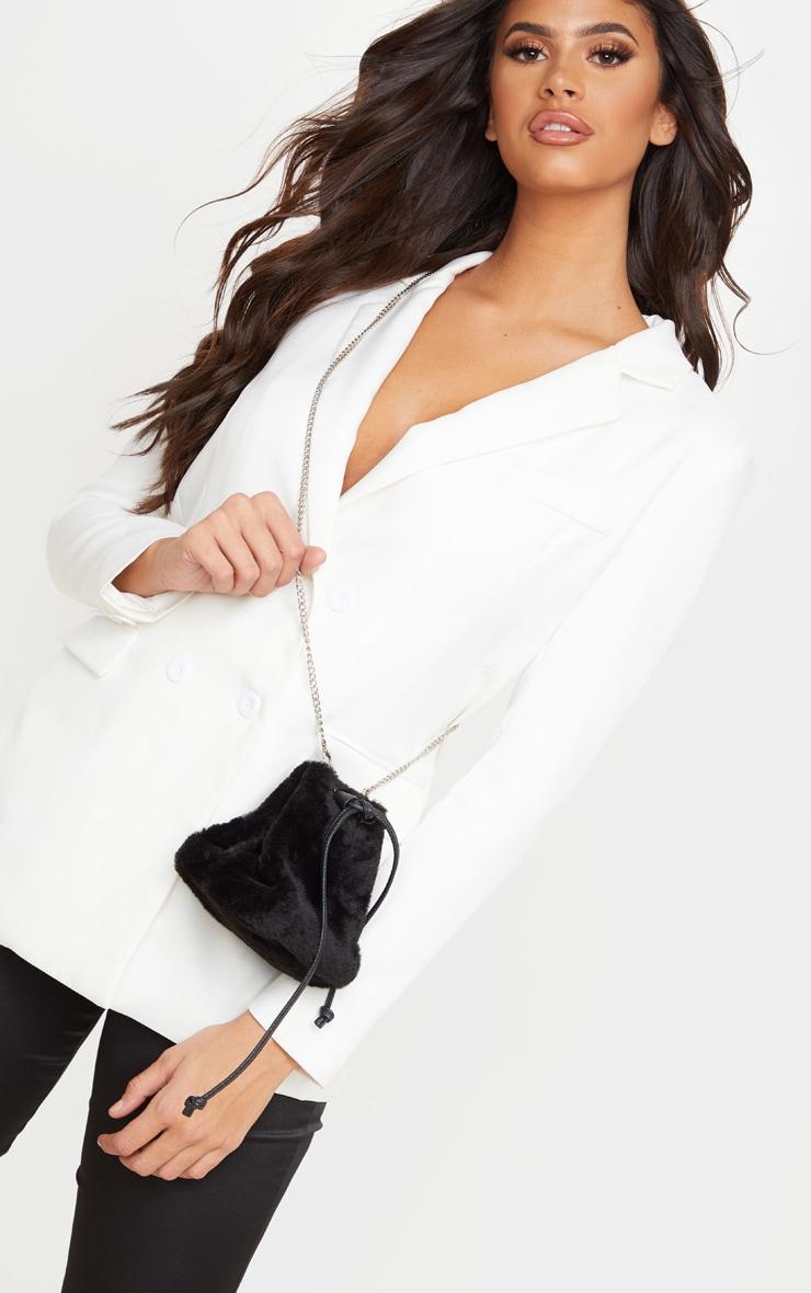 black faux fur duffle bag