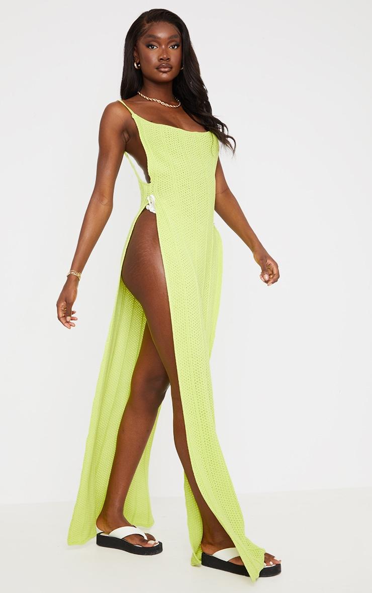 Tall - Robe longue en maille vert citron fendue sur les côtés à dos ouvert 1
