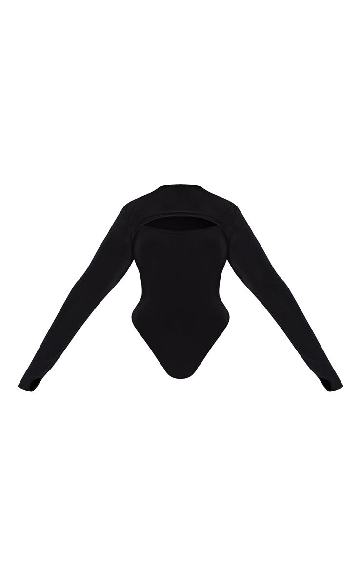 Plus Black Slinky Crew Neck Cut Out Long Sleeve Detail Bodysuit 5