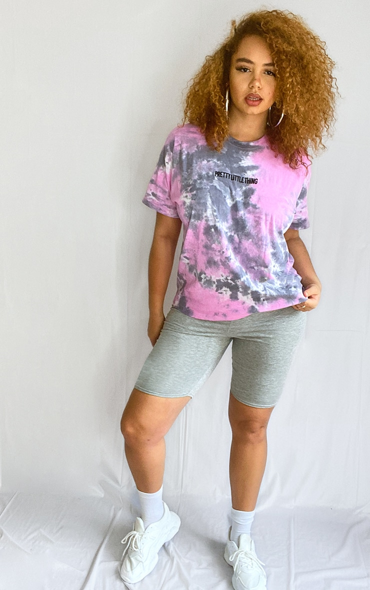 PRETTYLITTLETHING Plus Purple Tie Dye Embroidered Oversized T Shirt 3