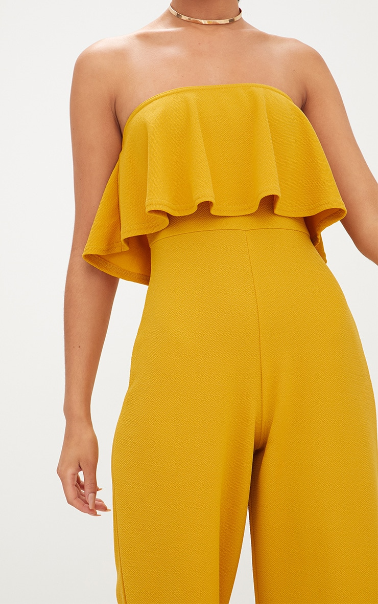 Mustard Bardot Double Layer Culotte Jumpsuit 5