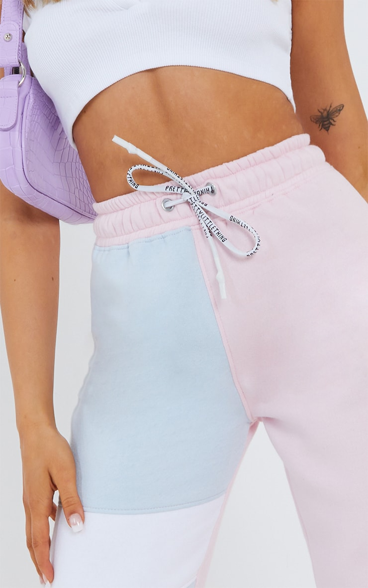 Baby Blue Contrast Panel Joggers 4