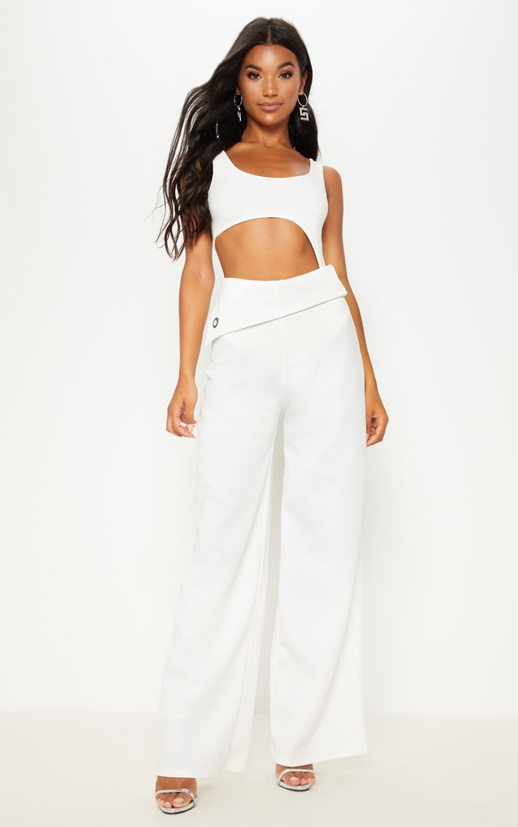 Cream Scuba Turn Over Waist Wide Leg Trouser