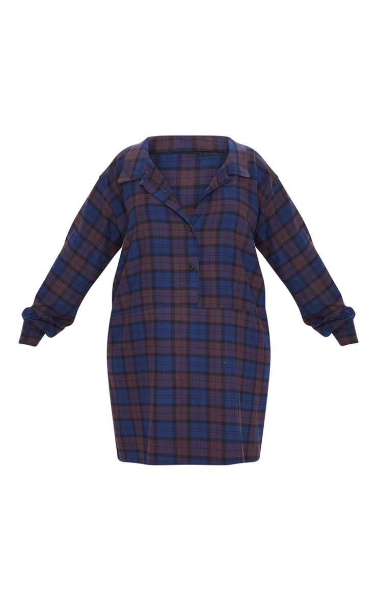 Plus Purple Oversized Check Shirt Dress  3
