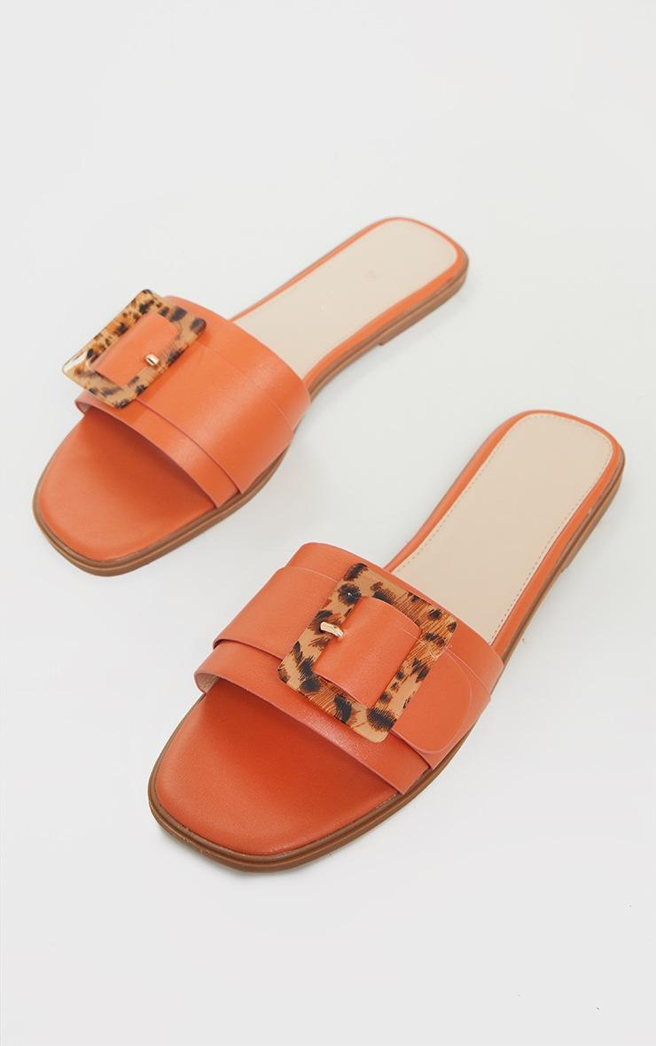 Orange Tortoise Buckle Mule Sandals 3