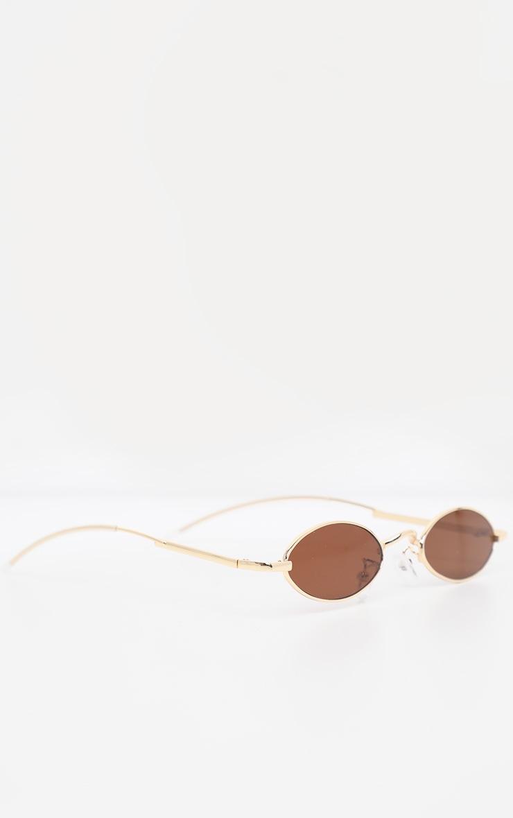 Brown Slim Metal Frame Oval Glasses 3