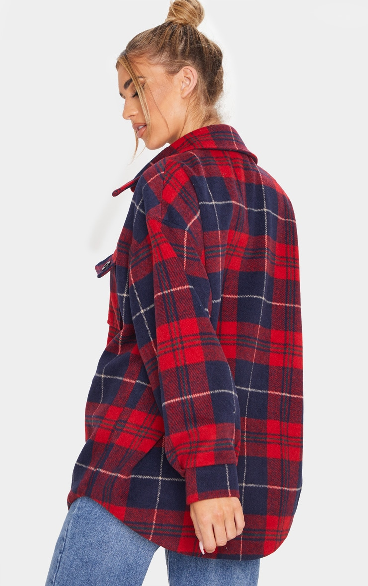 Navy Check Oversized Shacket 2