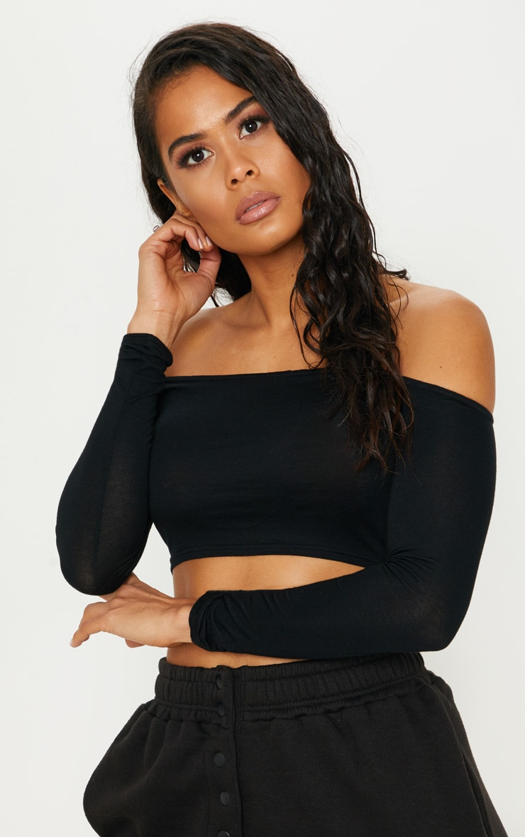 Basic Black Bardot Jersey Long Sleeve Top 1
