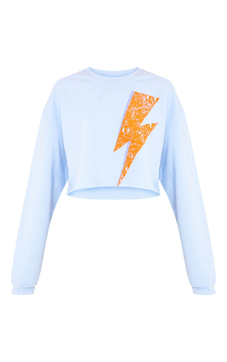 Lightning Slogan Light Blue Cropped Sweater 3