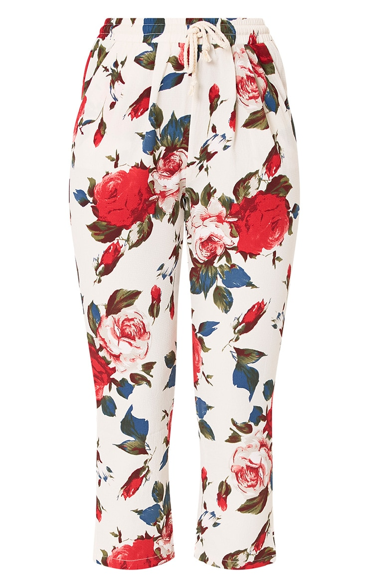 Cream Floral Casual Trousers 3