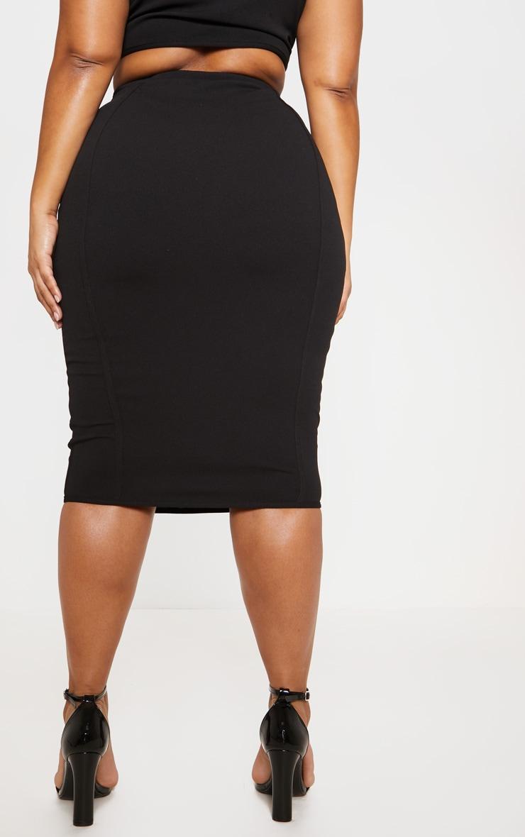 Black Piped Detail Hook & Eye Midi Skirt 5