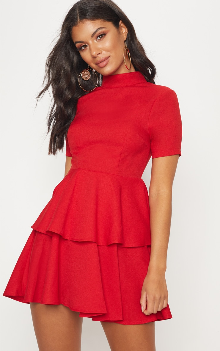 Red Cap Sleeve Tiered Skater Dress 2