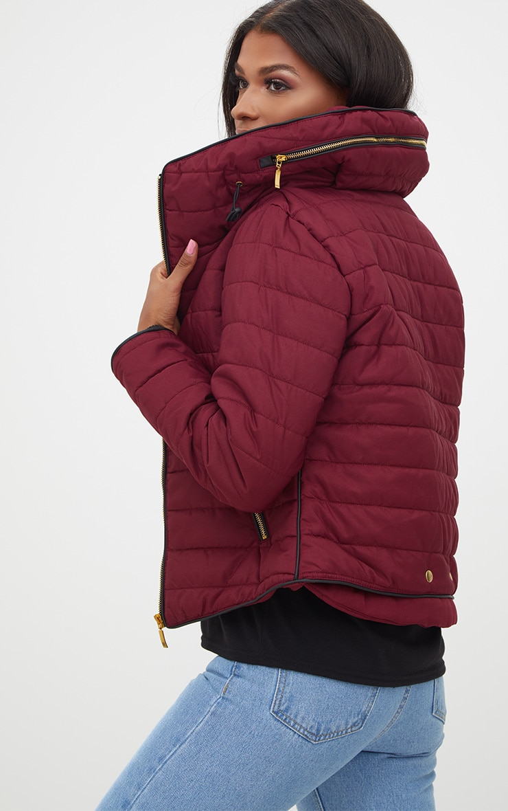 Mara Burgundy Puffer Jacket 2