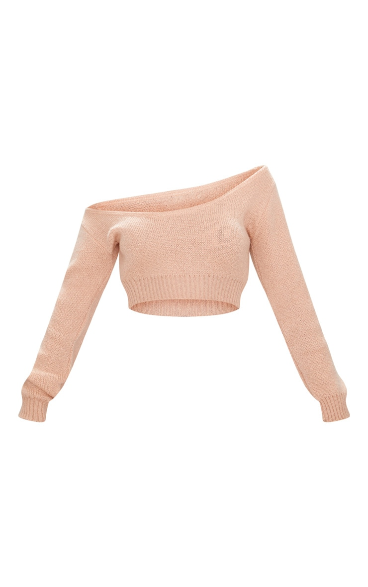 Nude V Neck Off Shoulder Knitted Cropped Jumper 3