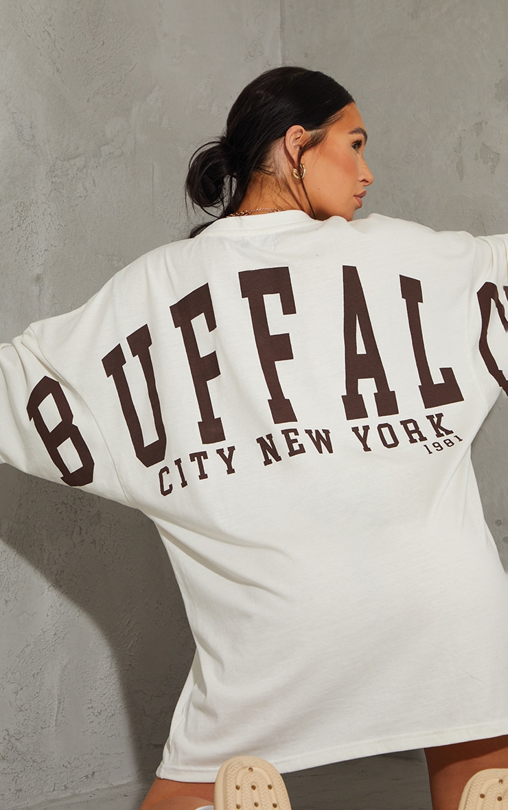 Stone Buffalo New York Slogan Short Sleeve T Shirt Dress 4