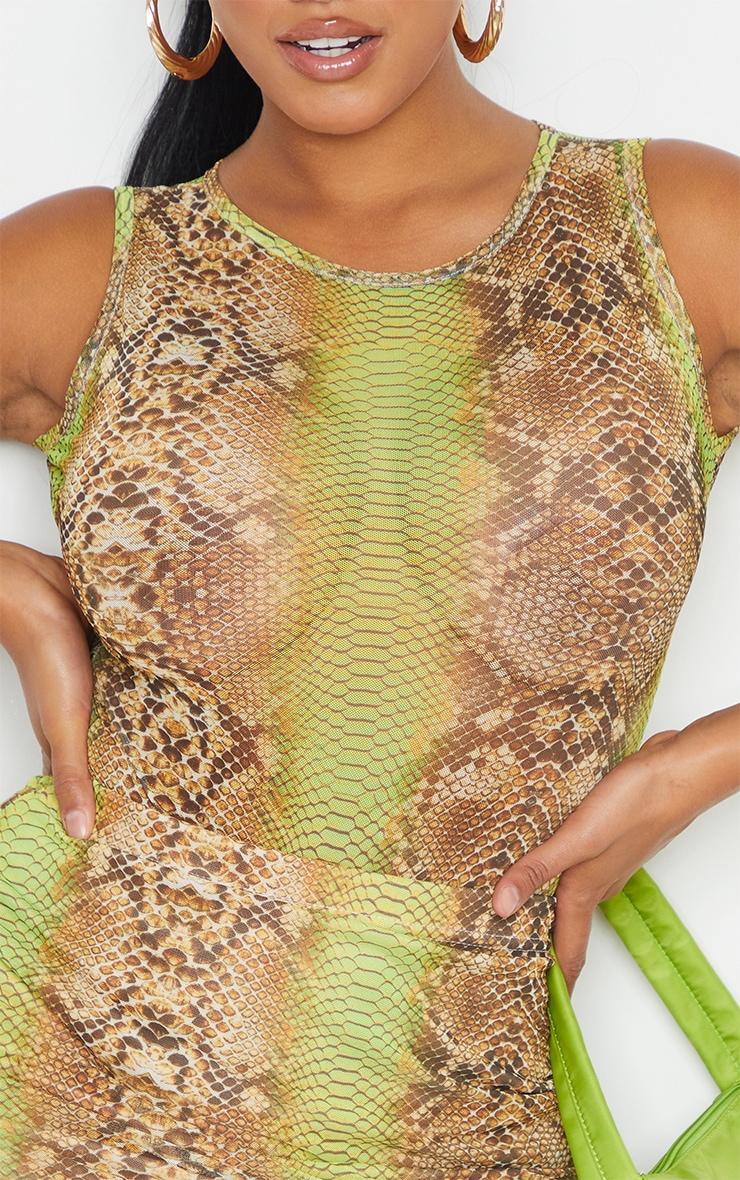 Shape Lime Snake Print Sheer Mesh Bodysuit 4