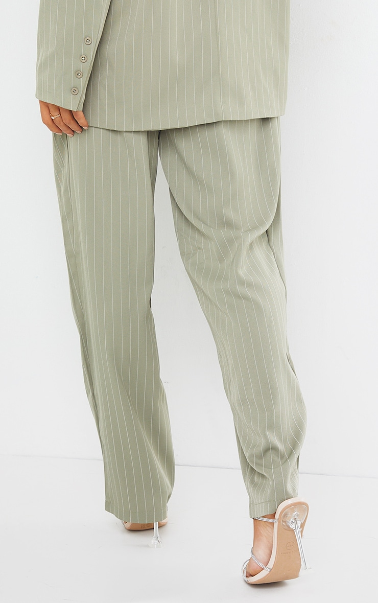 Sage Green Pinstripe Woven High Waisted Cigarette Pants 3