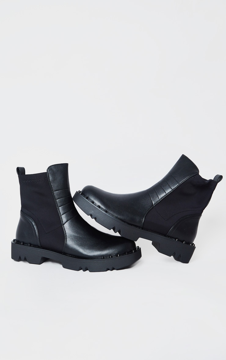 Black Chunky Sole Studded Chelsea Boots 4