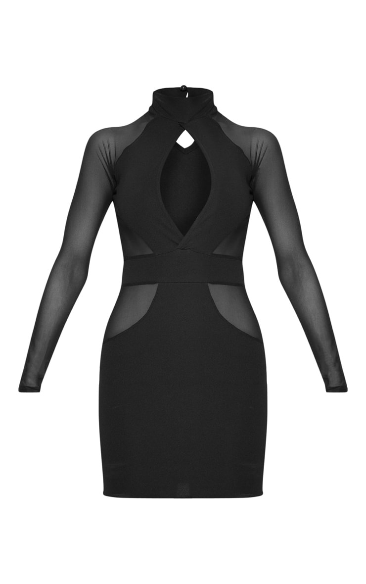 Black High Neck Keyhole Mesh Insert Bodycon Dress 3