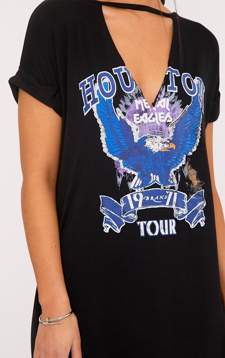 Houston Black Choker Cut Out T Shirt Dress  5