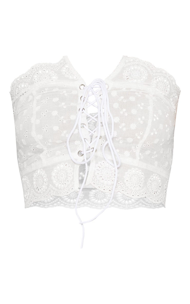 White Broderie Anglaise Lace Up Bandeau Crop Top 3