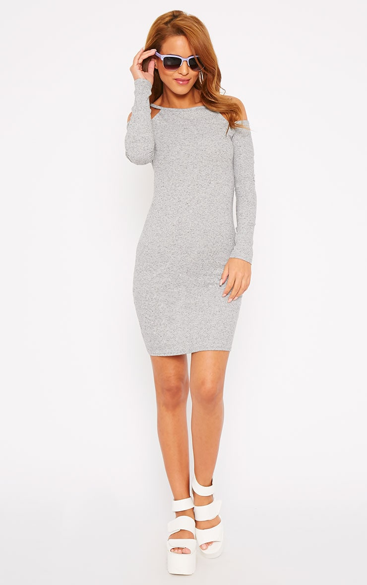 Geri Grey Ribbed Cut Out Shoulder Mini Dress 3