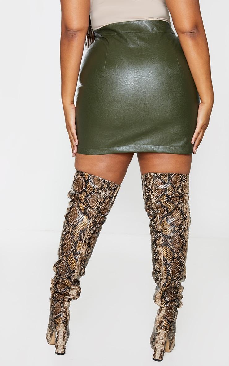 Plus Khaki Faux Leather Buckle Detail Bodycon Skirt 3
