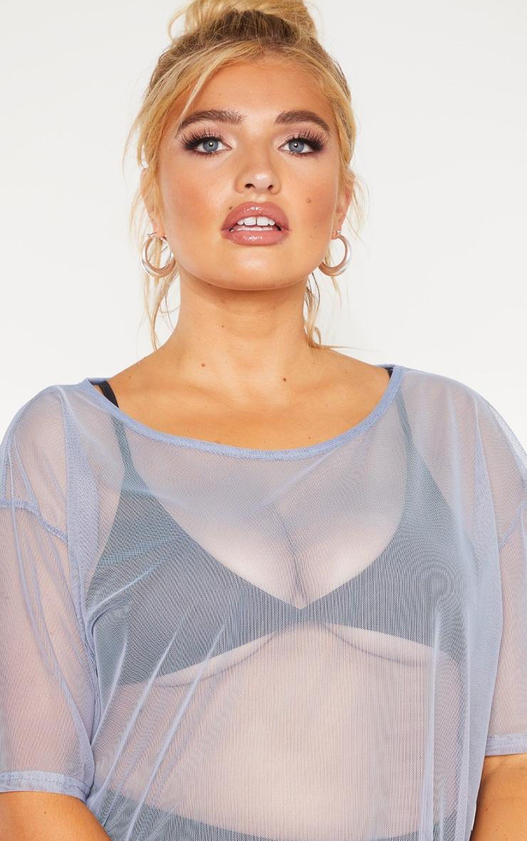 Plus Dusty Blue Sheer Mesh Oversized T Shirt Dress  5