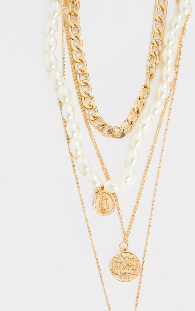 Gold Assorted Pendant Pearl Layering Necklace 4