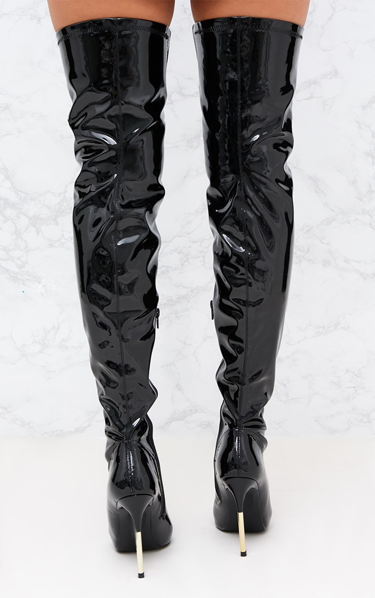 Black Patent Over The Knee Slim Heel Skin Boot 4