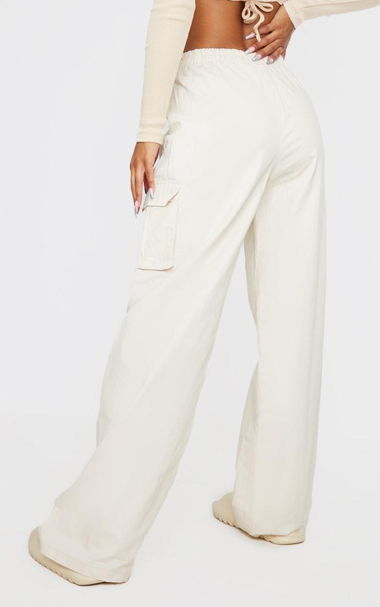 Cream Wide Leg Cargo Pants 3