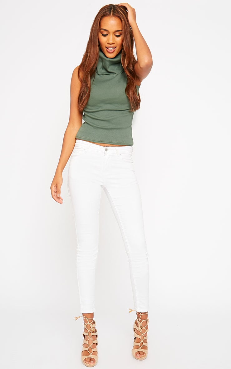 Melina Khaki Ribbed Turtle Neck Top 3