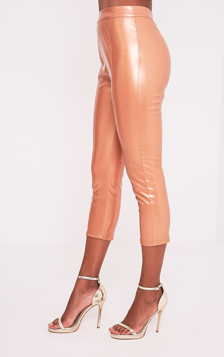 Daysha Bronze Cropped Leather Trousers 4