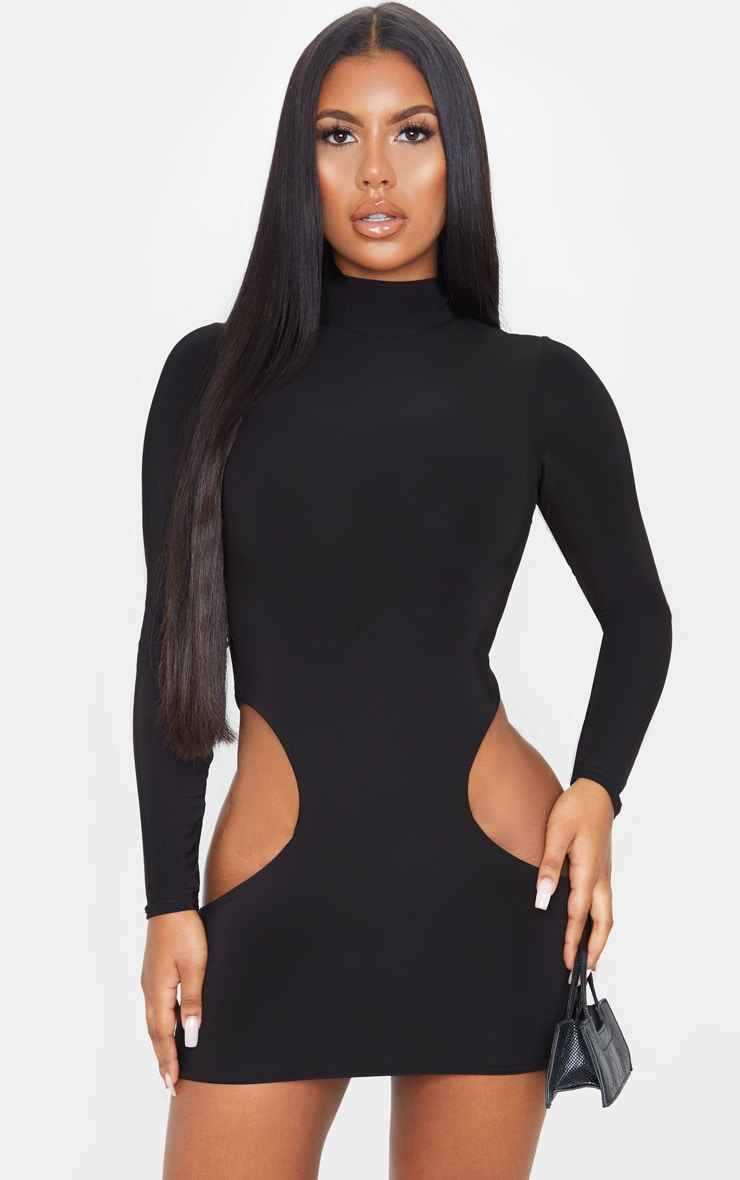 Black High Neck Extreme Cut Out Long Sleeve Bodycon Dress 1