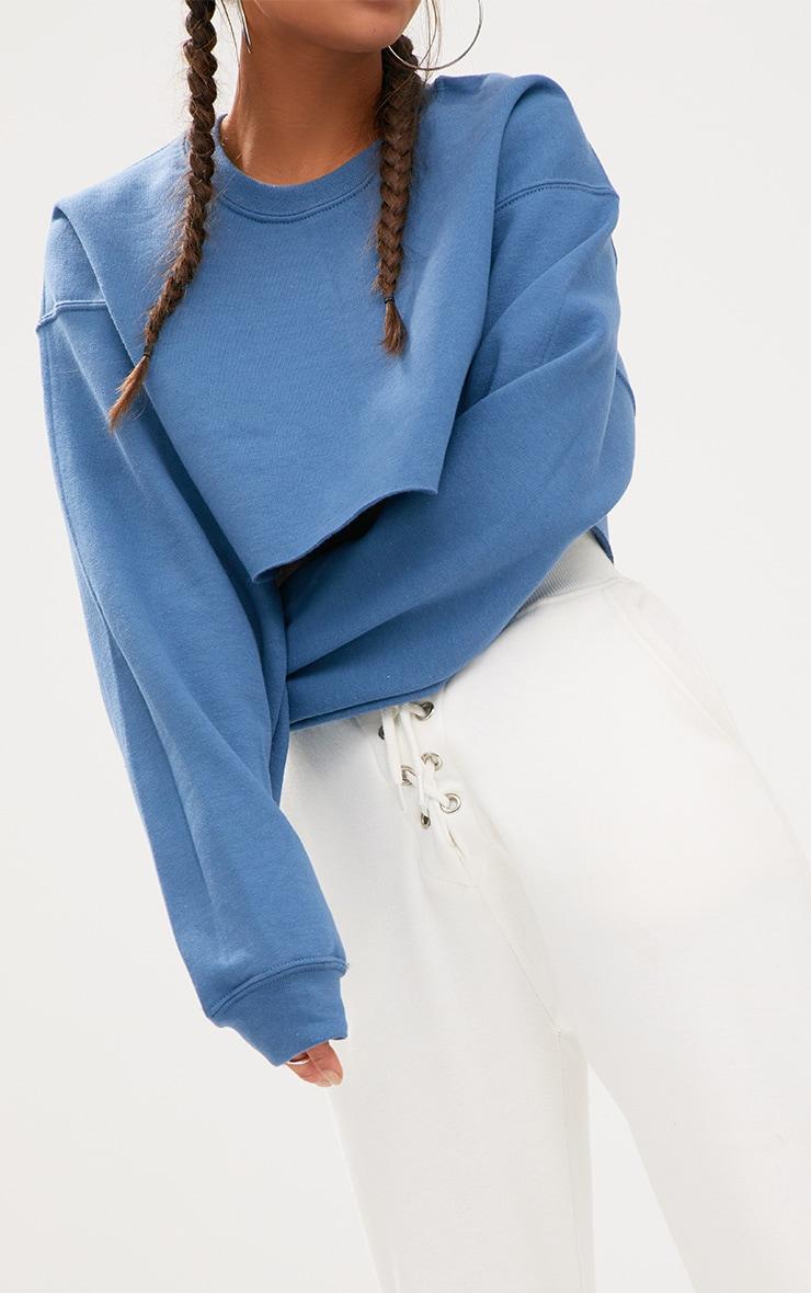 Recycled Dusty Blue Crop Oversized Sweatshirt 4