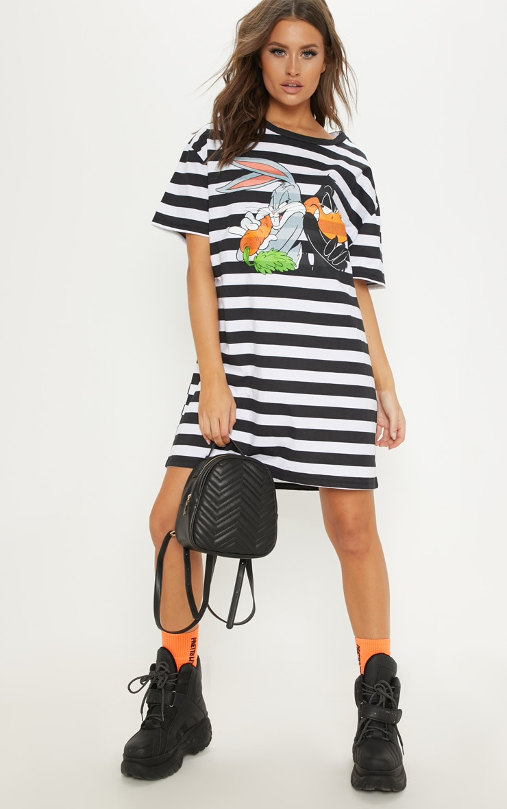 Black Looney Tunes Oversized Stripe T Shirt Dress 1