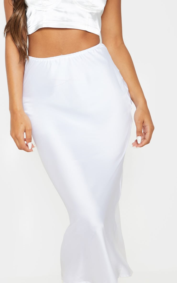 White Satin Midi Skirt 5