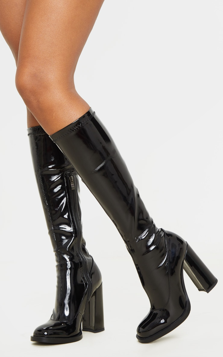 Black Knee High Block Heel Sock Boot 1