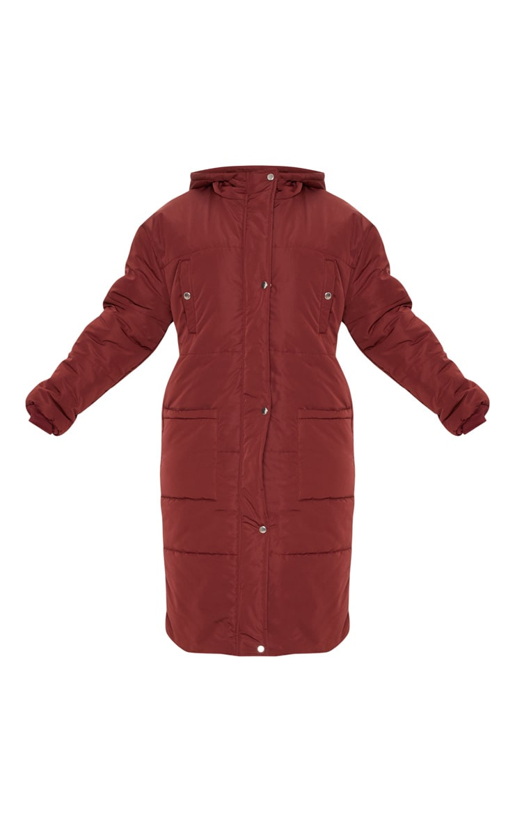 Plus Burgundy Longline Puffer Coat 3