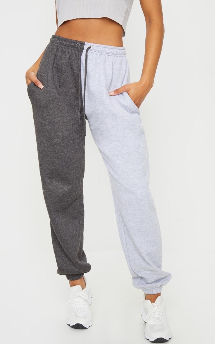 Grey Contrast Leg Joggers 2
