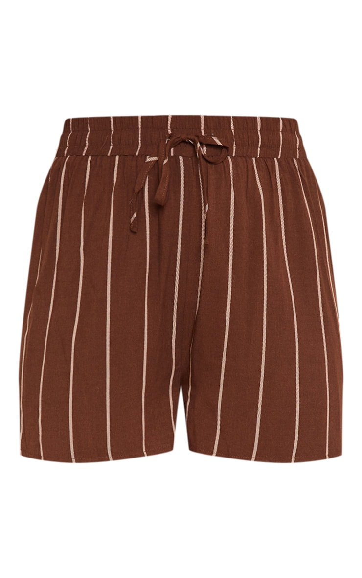 Chocolate Stripe Drawstring Waist Casual Short 3