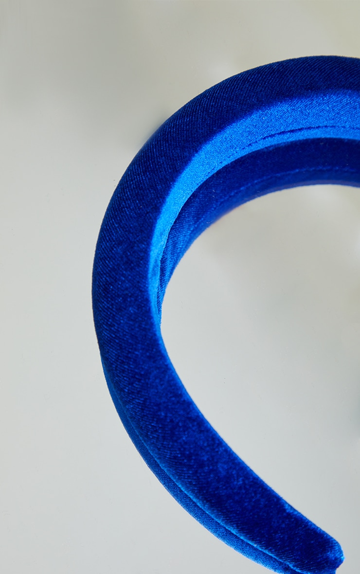 Cobalt Blue Velvet Padded Headband 3