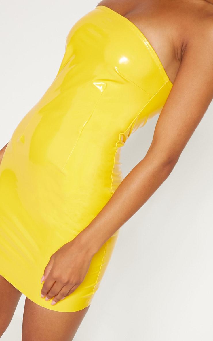 Yellow Vinyl Bandeau Bodycon Dress 4