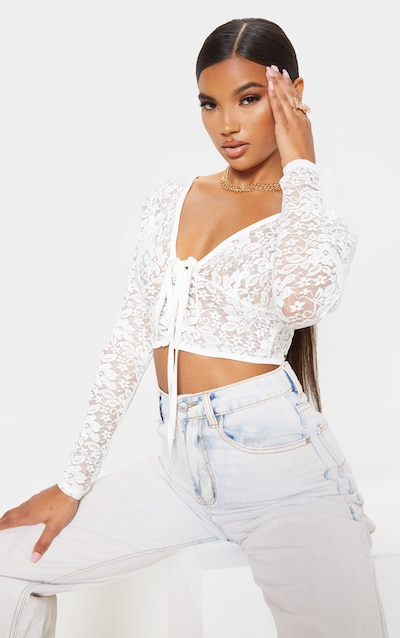Cream Lace Hook and Eye Cut Out Crop Top