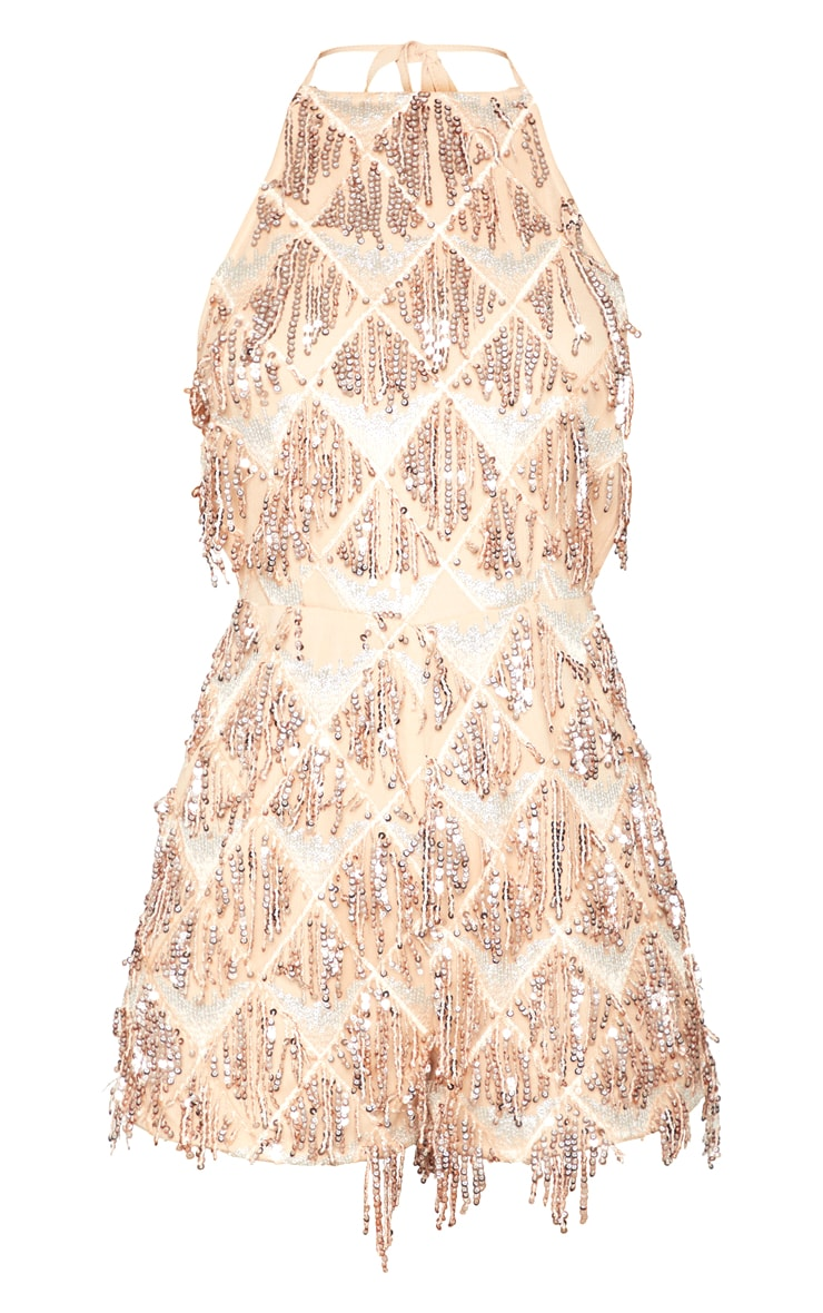 Rose Gold Tassel Sequin Playsuit 3